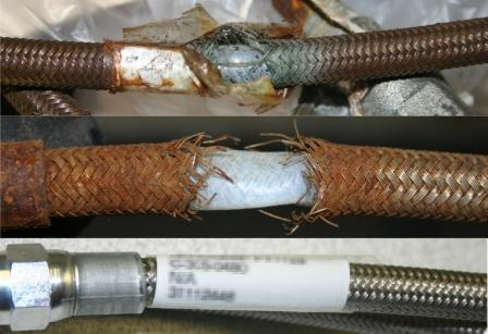 Flex hose comparison: ruptured riverside hose, flow restricted hillside hose, a new hose with attached ID tag