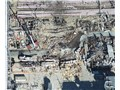 Aerial view of the damaged trailers