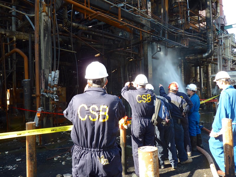 View of CSB Investigators following the August 6, 2012, incident at the Chevron Refinery
