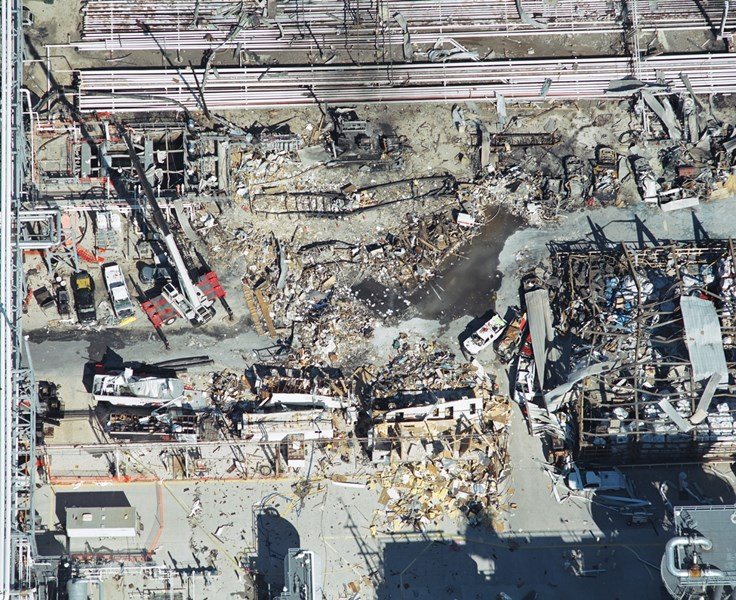 View of the damage to temporary office trailers caused by the 2005 BP Texas City Refinery explosion and fire