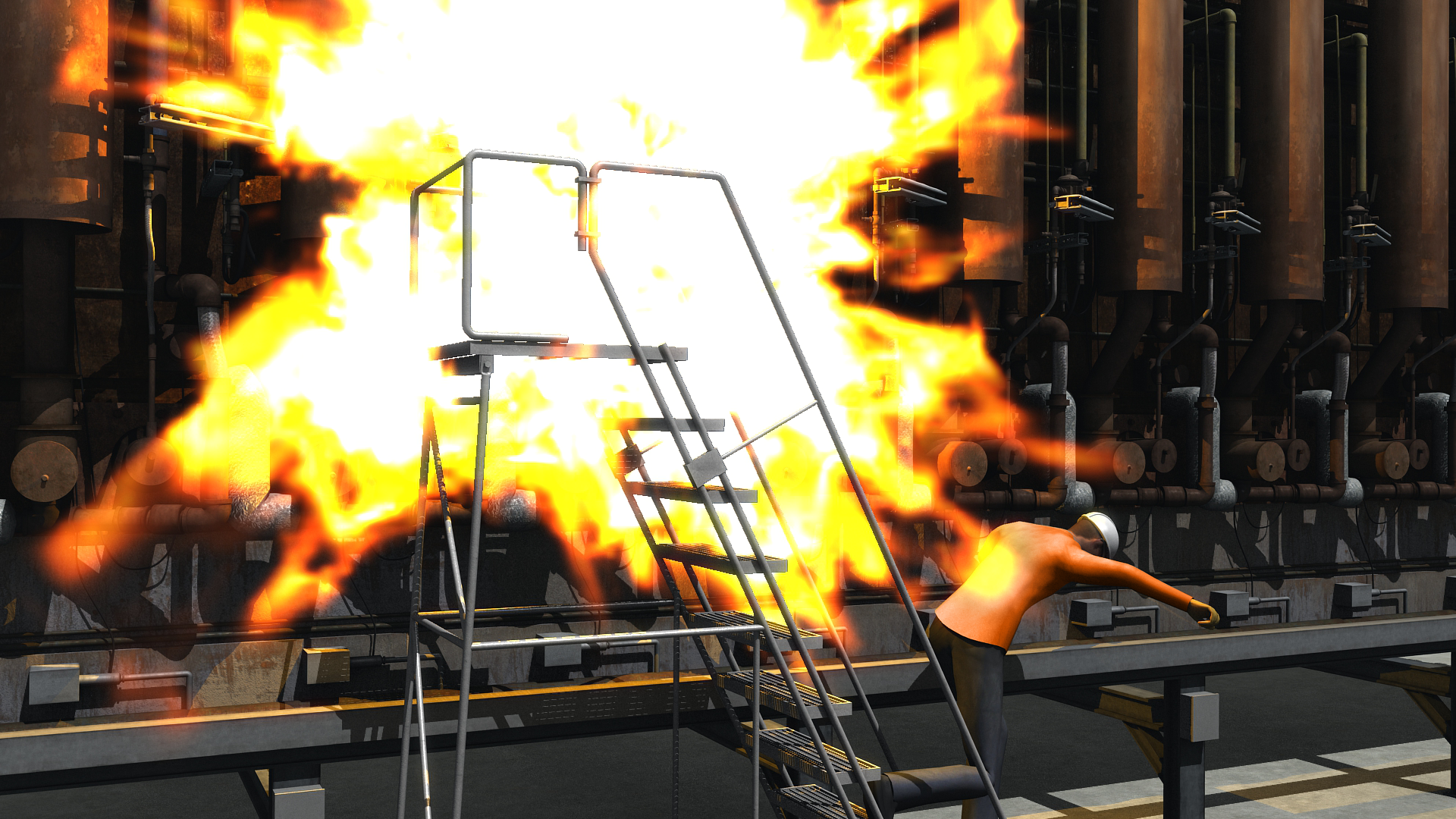 "Animation Still from the CSB's safety video ""Iron in the FIre"""